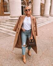 coat,long coat,ankle boots,heel boots,cropped jeans,ripped jeans,white t-shirt,fendi,handbag