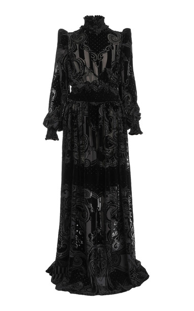 Balmain Smocked Devoré-Velvet Dress in black