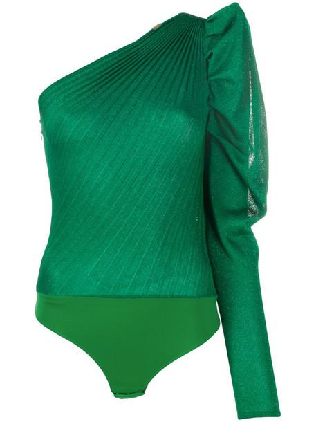 Elisabetta Franchi ruffled one shoulder top in green