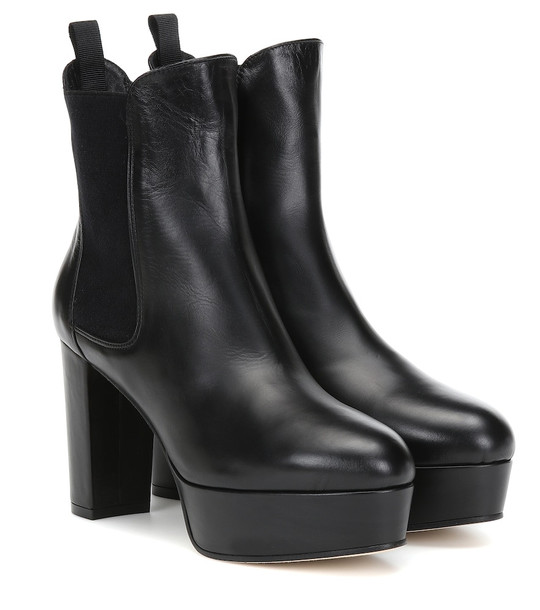 Stuart Weitzman Sophina leather ankle boots in black
