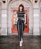 bag,crossbody bag,white shoes,socks,high waisted pants,stripes,black and white,crop tops