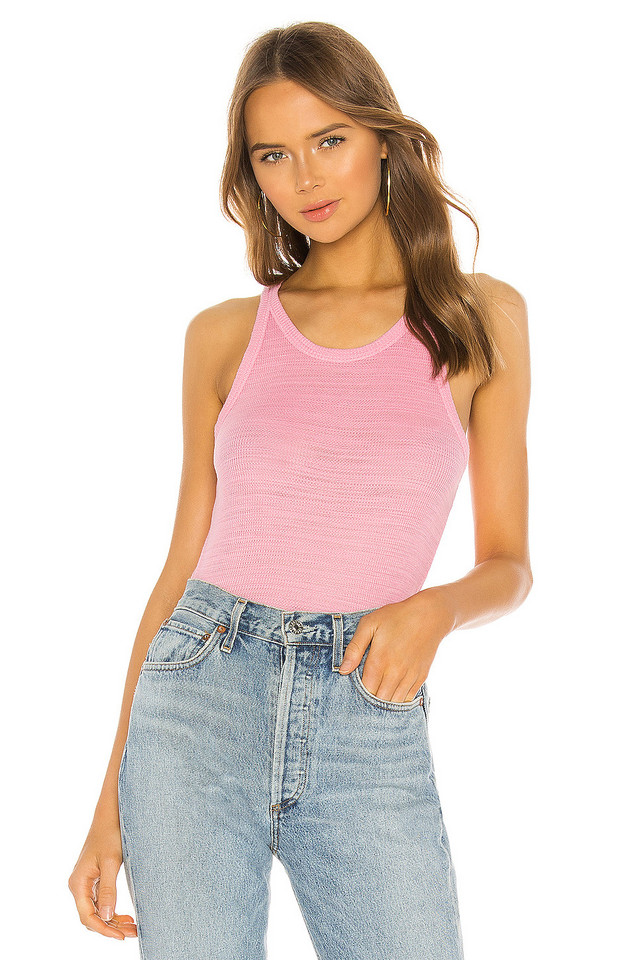 MONROW Tissue Thermal Narrow Tank in pink
