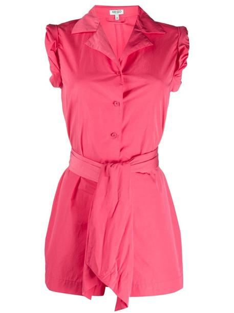 Kenzo tie waist playsuit in pink