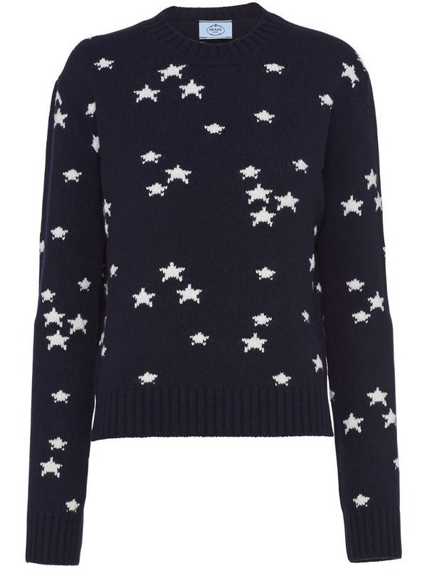 Prada star print crew-neck jumper in blue