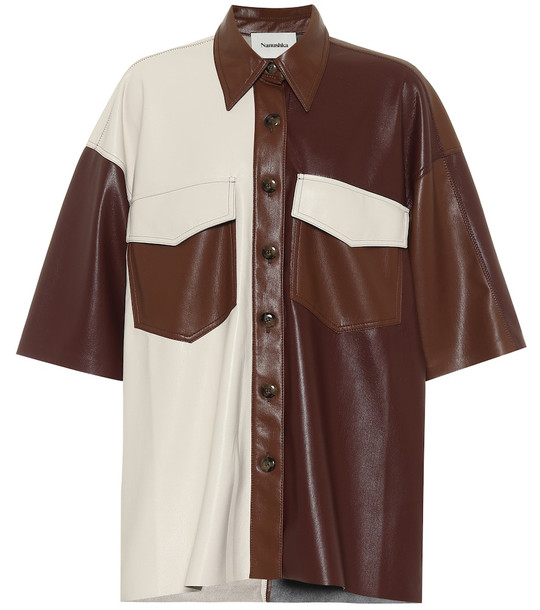 Nanushka Roque faux leather shirt in brown