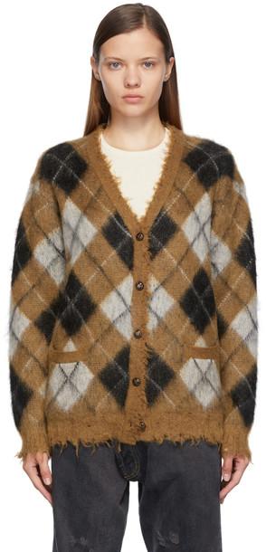 R13 Brown Check Fluffy Plaid Cardigan