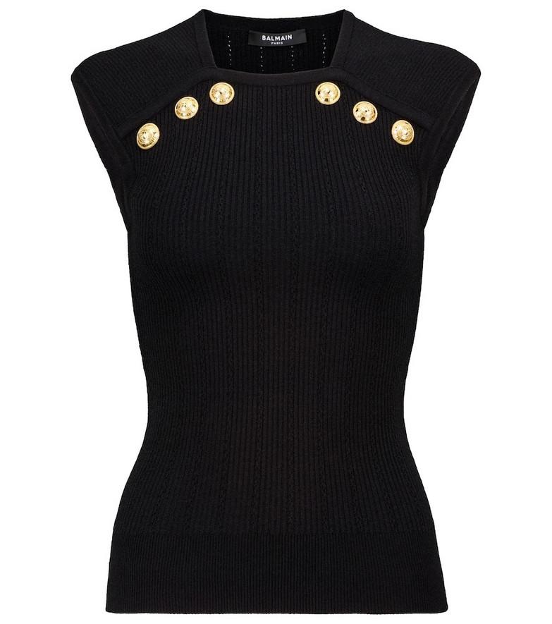 Balmain Ribbed-knit top in black
