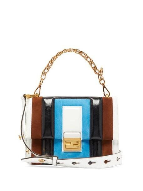 Fendi - Kan U Medium Leather And Suede Cross Body Bag - Womens - Multi