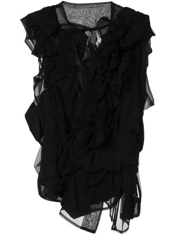 Comme Des Garçons Pre-Owned ruffle sheer blouse in black