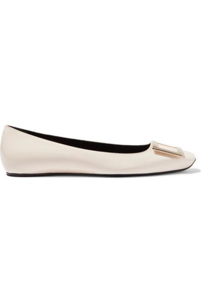 Roger Vivier - Trompette Bellerine Patent-leather Ballet Flats - White