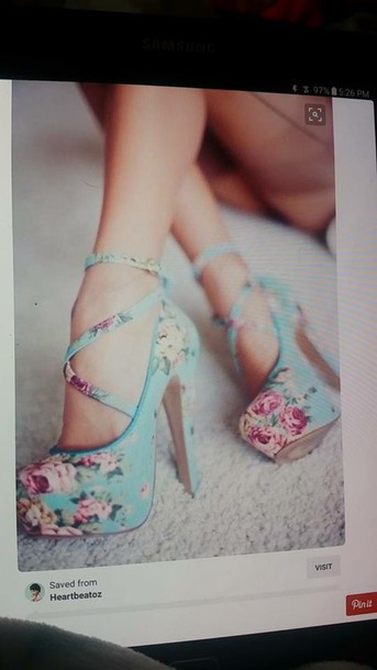 shoes baby blue strappy floral high heelsls
