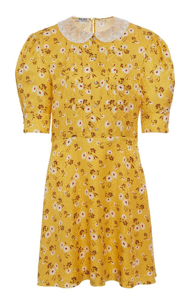 Miu Miu Floral Pleated Mini Dress in yellow