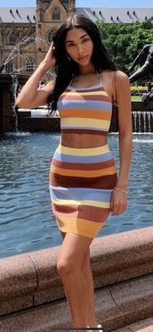dress,chantel jeffries,co-ord,two piece dress set,blue,yellow,skirt,top,celebrity,striped dress,multicolor