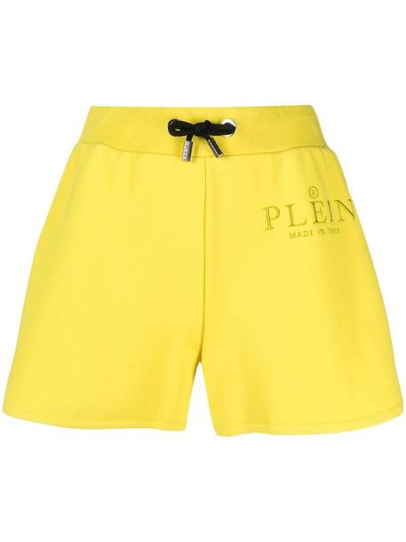 Philipp Plein pin-detail jogging shorts in yellow