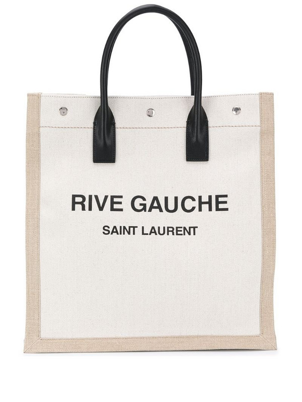 Saint Laurent logo-print tote bag in neutrals