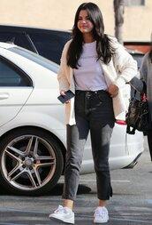 jeans,top,cardigan,selena gomez,streetstyle,denim