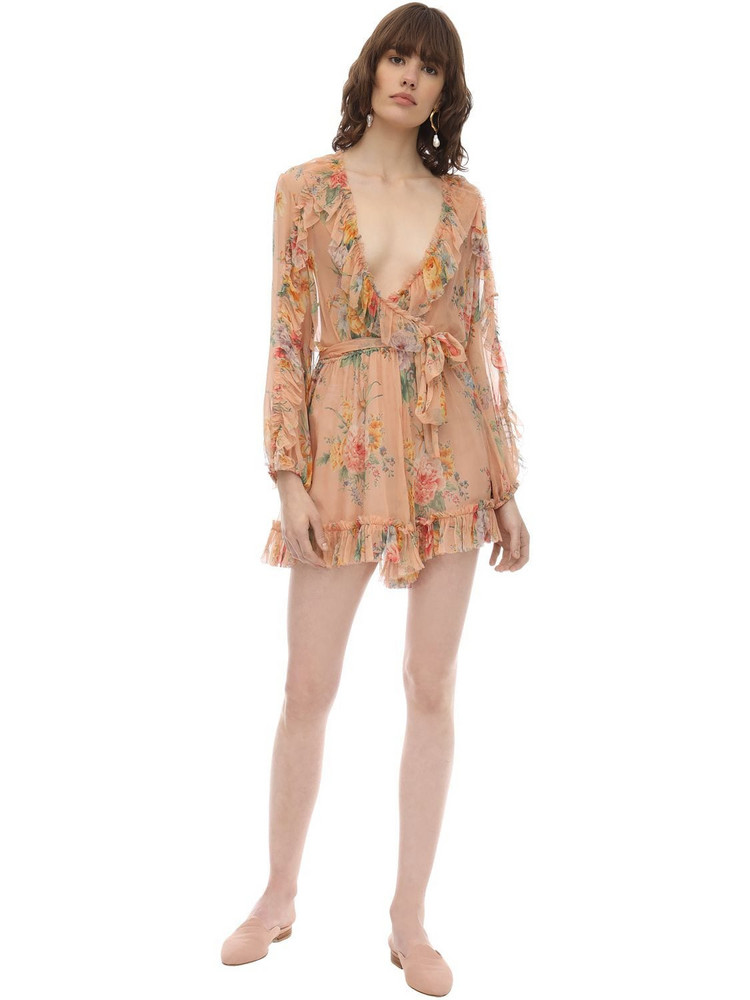 ZIMMERMANN Printed Silk Chiffon Playsuit in green / pink