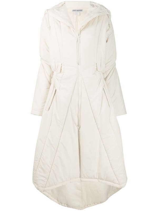 Issey Miyake Pre-Owned ruched midi coat in neutrals