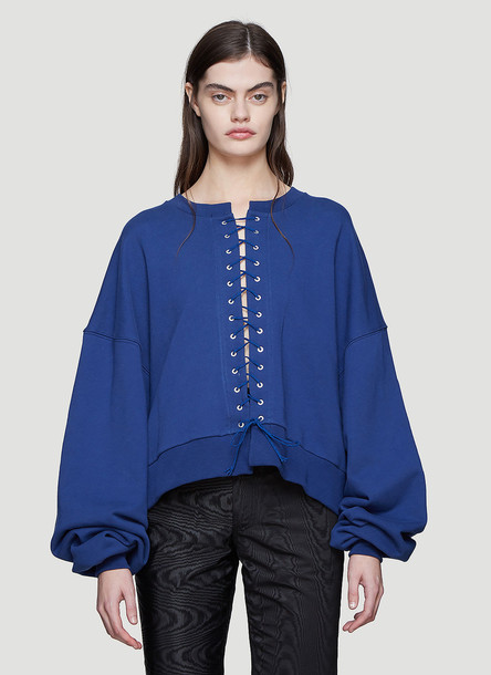 Unravel Project French Terry Lace-Up Sweatshirt in Navy size L