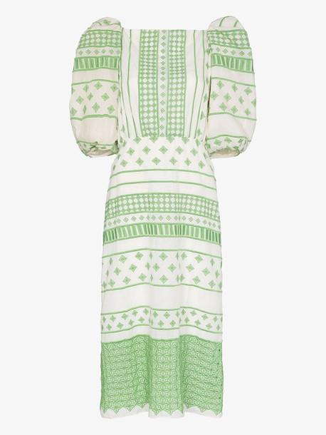 Johanna Ortiz Pre-Colombian Culture embroidered dress in green