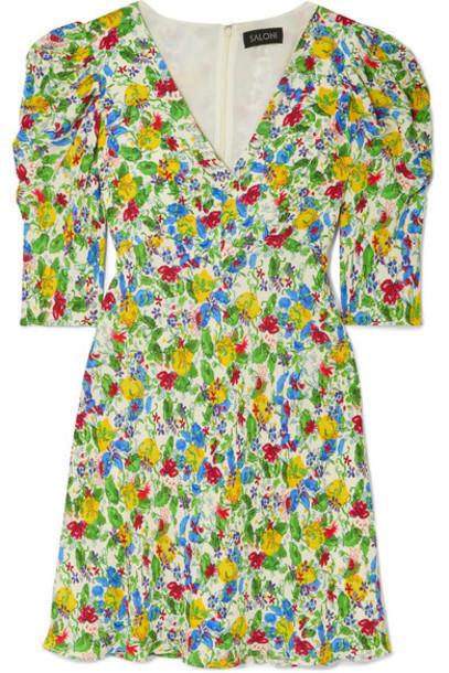 Saloni - Colette Floral-print Crepe De Chine Mini Dress - Green