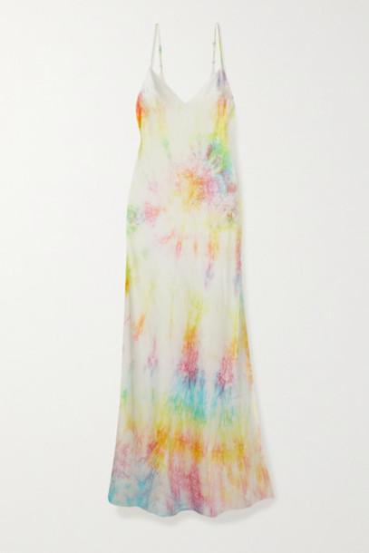 DANNIJO - Tie-dyed Silk-satin Midi Dress - Yellow