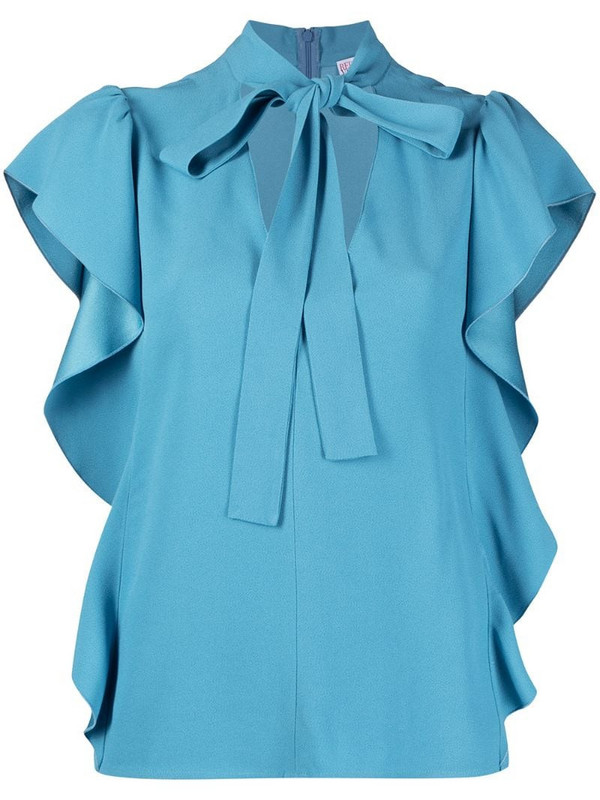 RED Valentino cut-out pussybow collar blouse in blue
