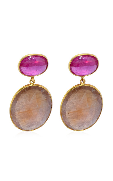 Bahina Ruby, Sapphire 18K Yellow Gold Earrings in multi