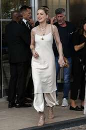 dress,amber heard,celebrity,cannes,midi dress,satin dress,silk,beige dress,pants,sandals
