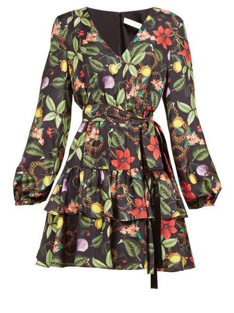 Borgo De Nor - Olivia Tropical Print Tie Waist Silk Mini Dress - Womens - Black Multi