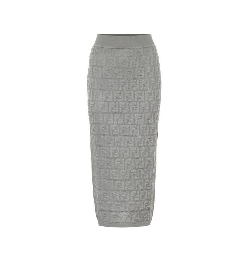 Fendi Cotton-blend knit midi skirt in grey