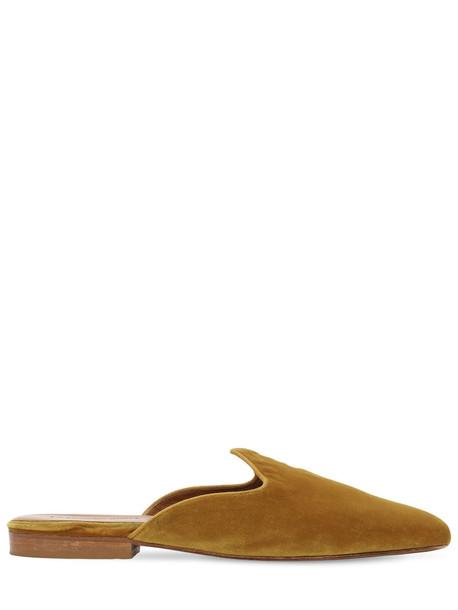 LE MONDE BERYL 10mm Velvet Mules in yellow