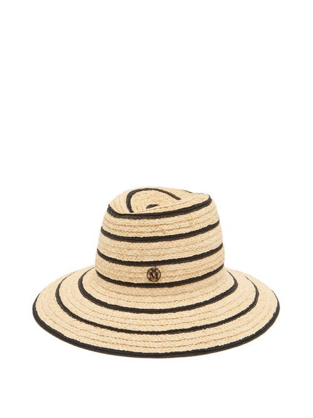 Maison Michel - Kate Striped Straw Fedora Hat - Womens - Black White
