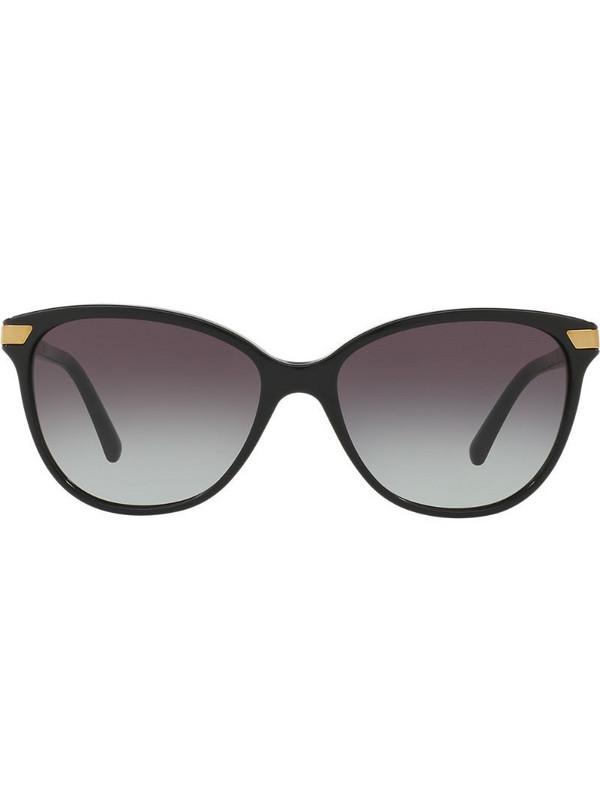 Burberry Eyewear check detail round sunglasses in black