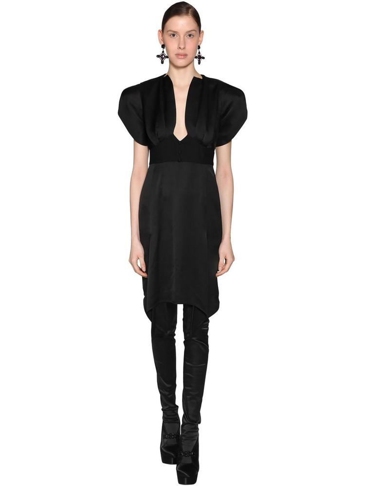 OLIVIER THEYSKENS Empire Waist Ruffled Viscose Midi Dress in black