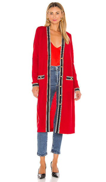 L'AGENCE Tinsley Long Cardigan in Red