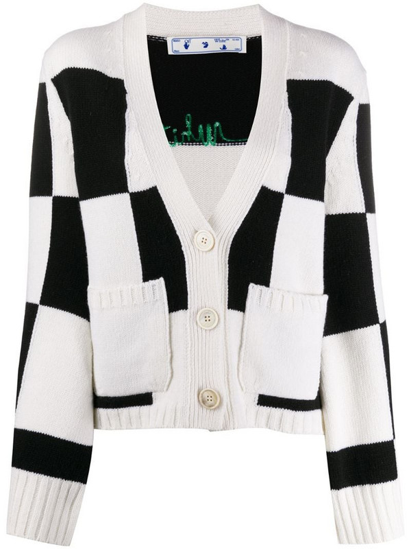 Off-White embroidered logo checked cardigan in black