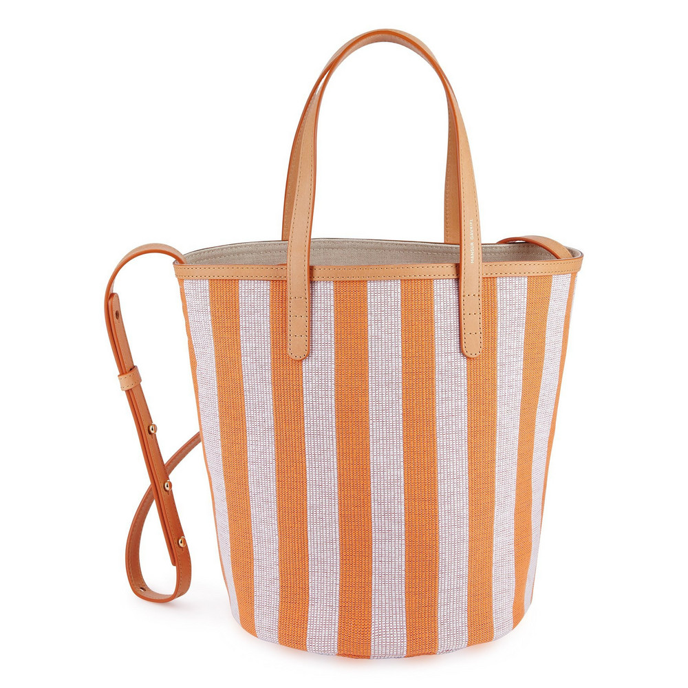 Mansur Gavriel Cavnas Mini Circle Bucket Bag - Orange/White