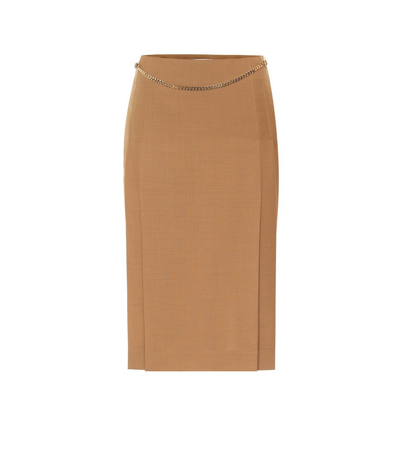 Victoria Beckham Belted virgin wool pencil skirt in beige