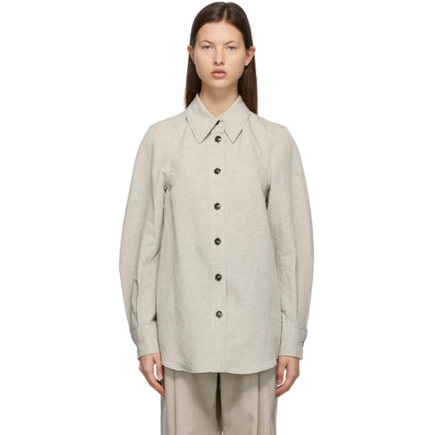 LOW CLASSIC Taupe Linen and Cotton Shirt in beige