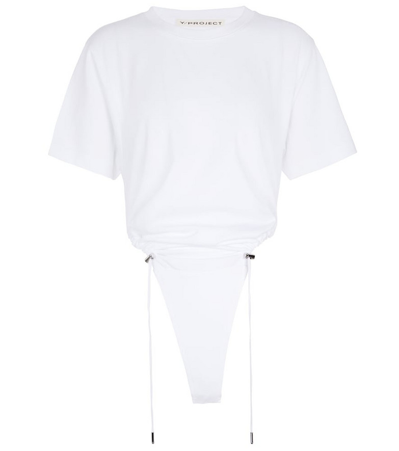 Y/PROJECT Ruched cotton bodysuit in white
