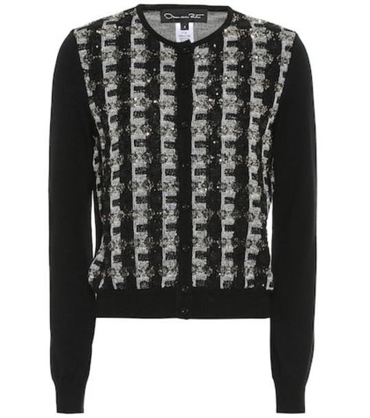 Oscar de la Renta Sequinned wool cardigan in black