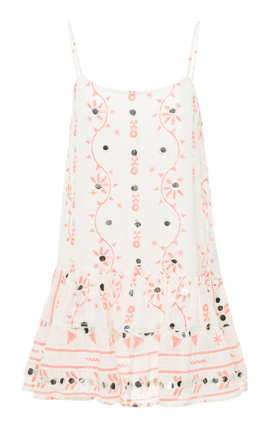 Juliet Dunn Embroidered Cotton Cami Dress in white