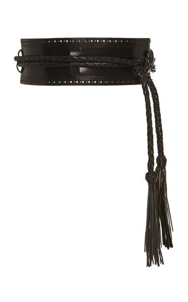 Carolina Herrera Tasseled Leather Belt Size: S in black