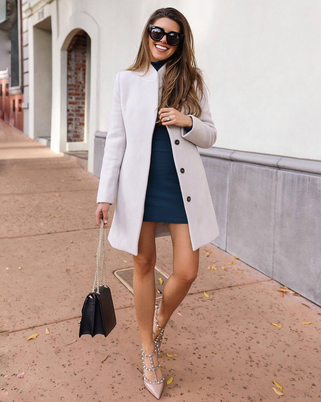 shoes high heel pumps black bag white coat blue dress turtleneck dress sunglasses