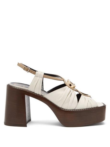 Gucci - Ecate Platform Leather Sandals - Womens - White Multi