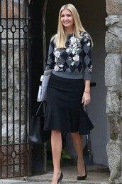sweater,ivanka trump,celebrity,fall outfits,skirt,black skirt