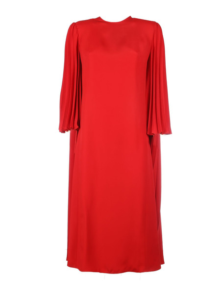 Valentino Plisse Double Face Viscosa Dress in red