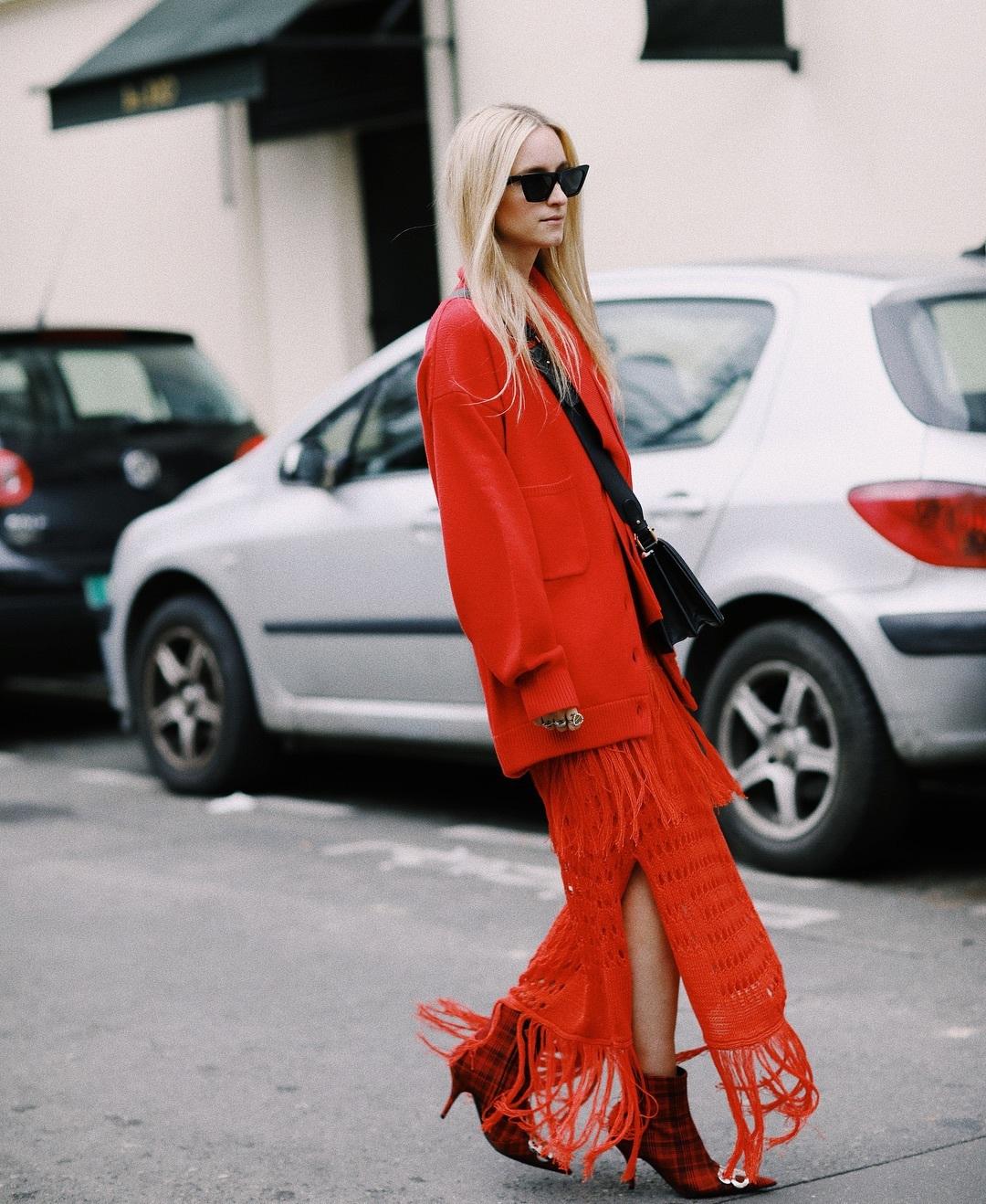 sweater cardigan maxi dress red dress slit dress fringes balenciaga ankle boots plaid black bag black sunglasses
