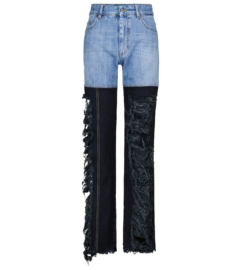 Peter Do High-rise two-tone straight jeans in blue